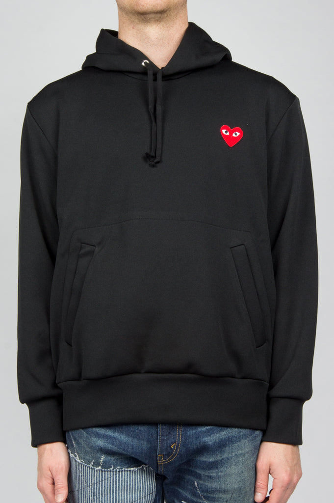 COMME DES GARCONS PLAY RED HEART PULLOVER HOODY BLACK - BLENDS