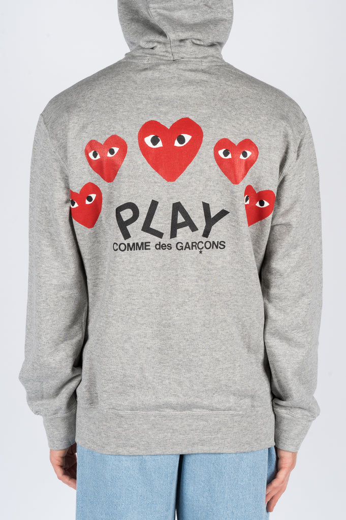 COMME DES GARCONS PLAY HOODIE JACKET LIGHT HEATHER GREY - BLENDS