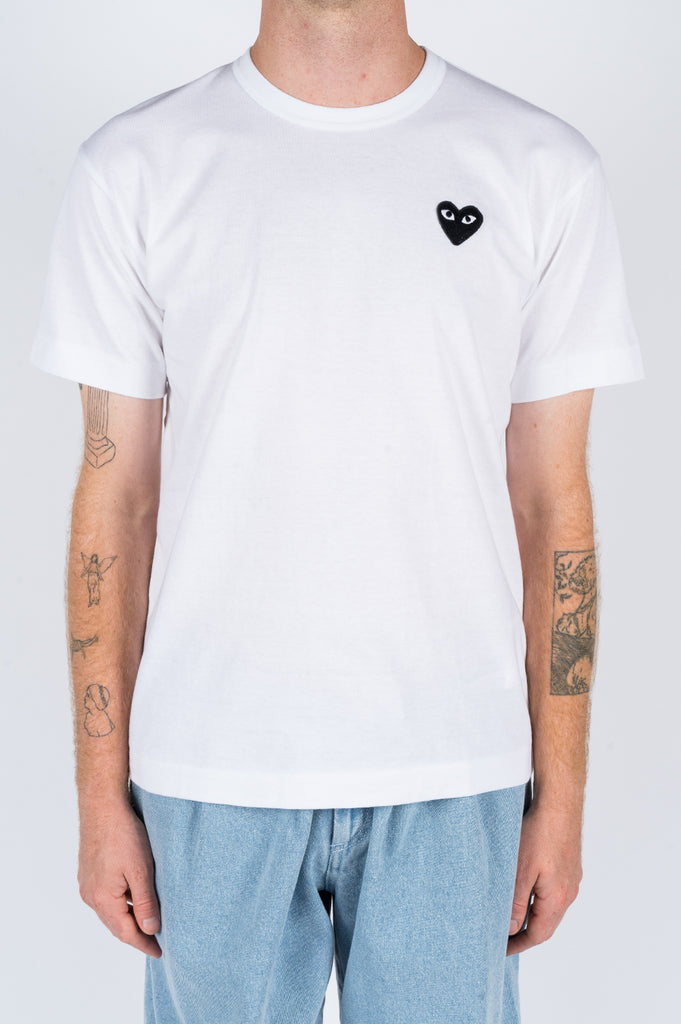 COMME DES GARCONS PLAY SS TSHIRT WHITE BLACK HEART - BLENDS