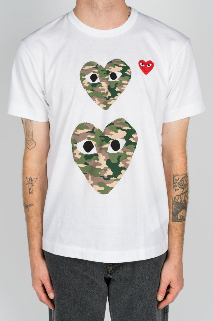 COMME DES GARCONS PLAY SS TSHIRT DOUBLE CAMO HEART WHITE - BLENDS