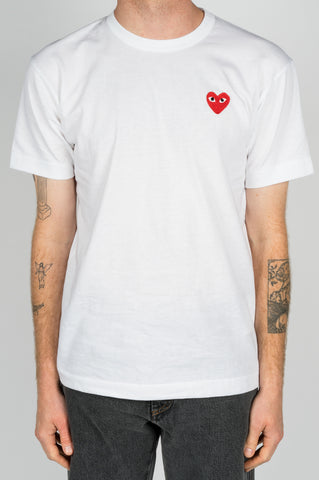 COMME DES GARCONS PLAY SS TSHIRT RED HEART WHITE - BLENDS