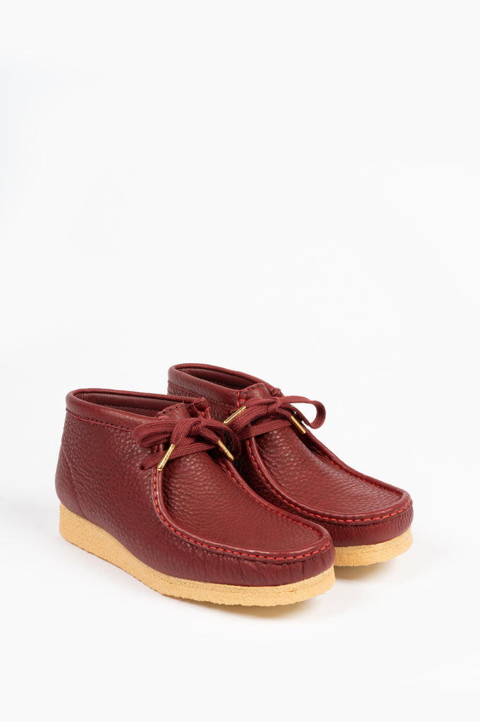 CLARKS X SPORTY & RICH WALLABEE BOOT MERLOT LEATHER