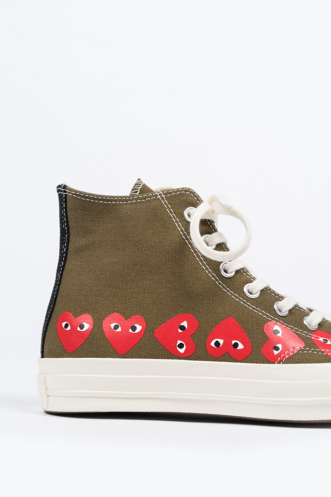 CONVERSE X COMME DES GARCONS PLAY CT 1970 HI TOP MULTI HEART GREEN - BLENDS