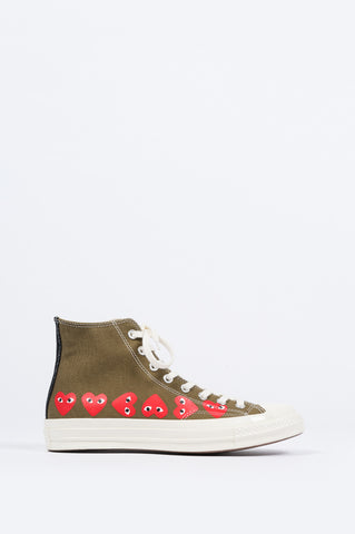 CONVERSE X COMME DES GARCONS PLAY CT 1970 HI TOP MULTI HEART GREEN