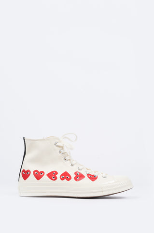 CONVERSE X COMME DES GARCONS PLAY CT 1970 HI TOP MULTI HEART EGRET - BLENDS