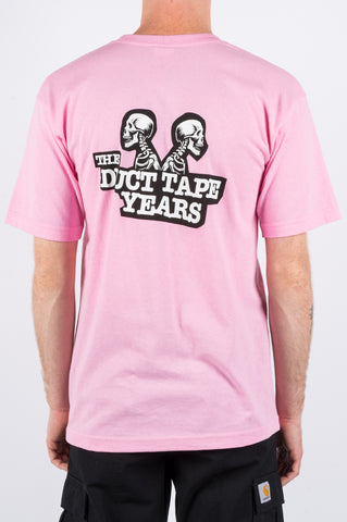 THE DUCT TAPE YEARS DOUBLE HEADER SKELETON TSHIRT PINK