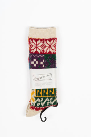 ANONYMOUS ISM MULTI JACQUARD PATTERN CREW SOCK