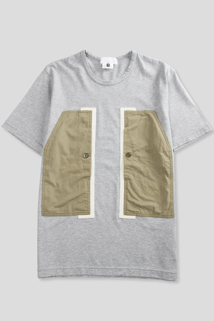 GANRYU SS PANEL POCKET TSHIRT GREY OLIVE - BLENDS