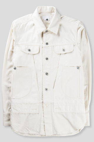 GANRYU COTTON TWILL GARMENT WASHED BUTTON DOWN NATURAL