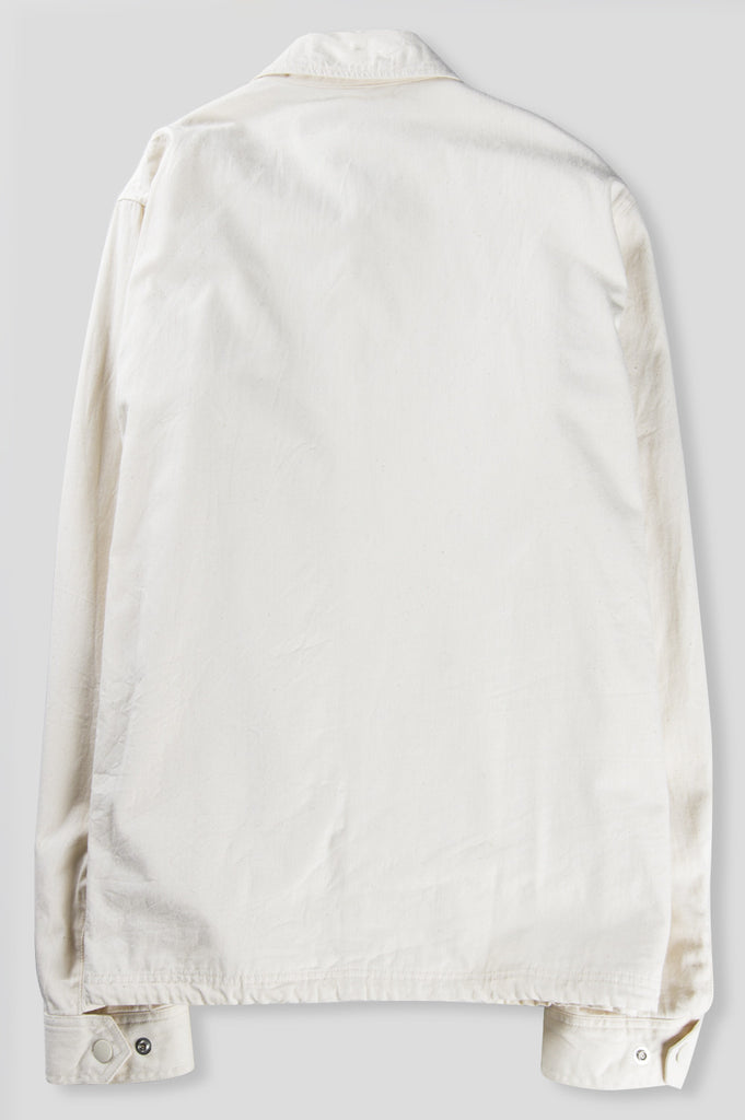 GANRYU COTTON TWILL GARMENT WASHED COACH JACKET NATURAL - BLENDS