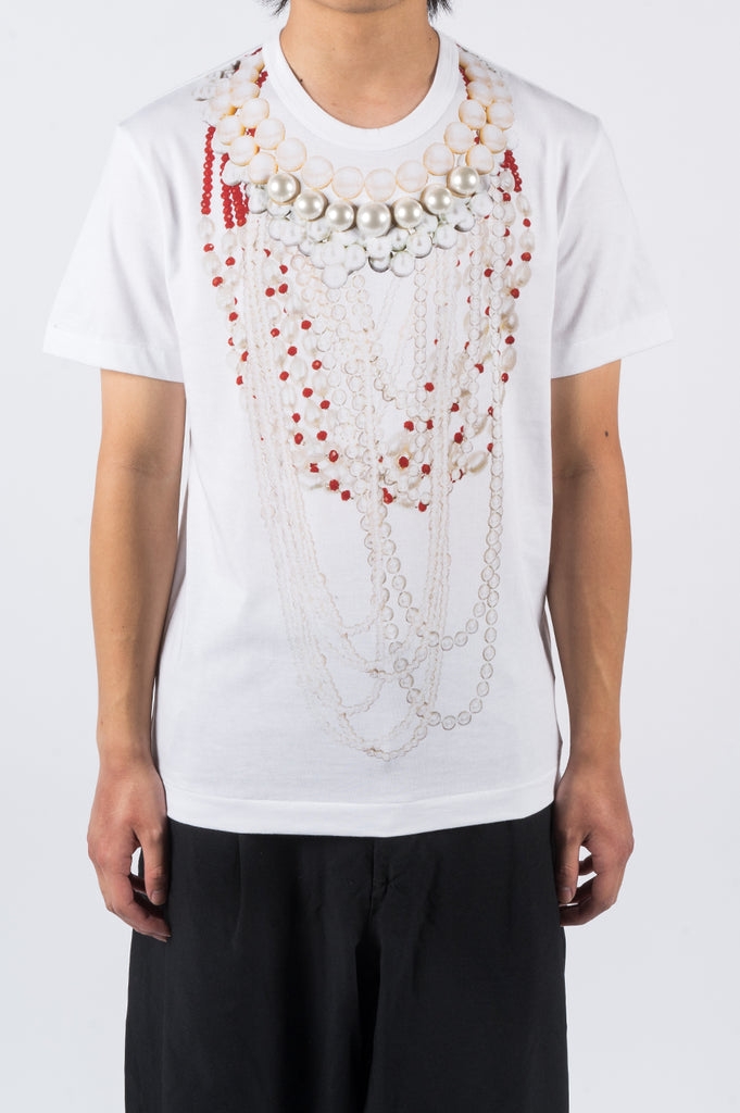 COMME DES GARCONS HOMME PLUS PRINT PEARL BEAD EMBROIDERY T-SHIRT - BLENDS