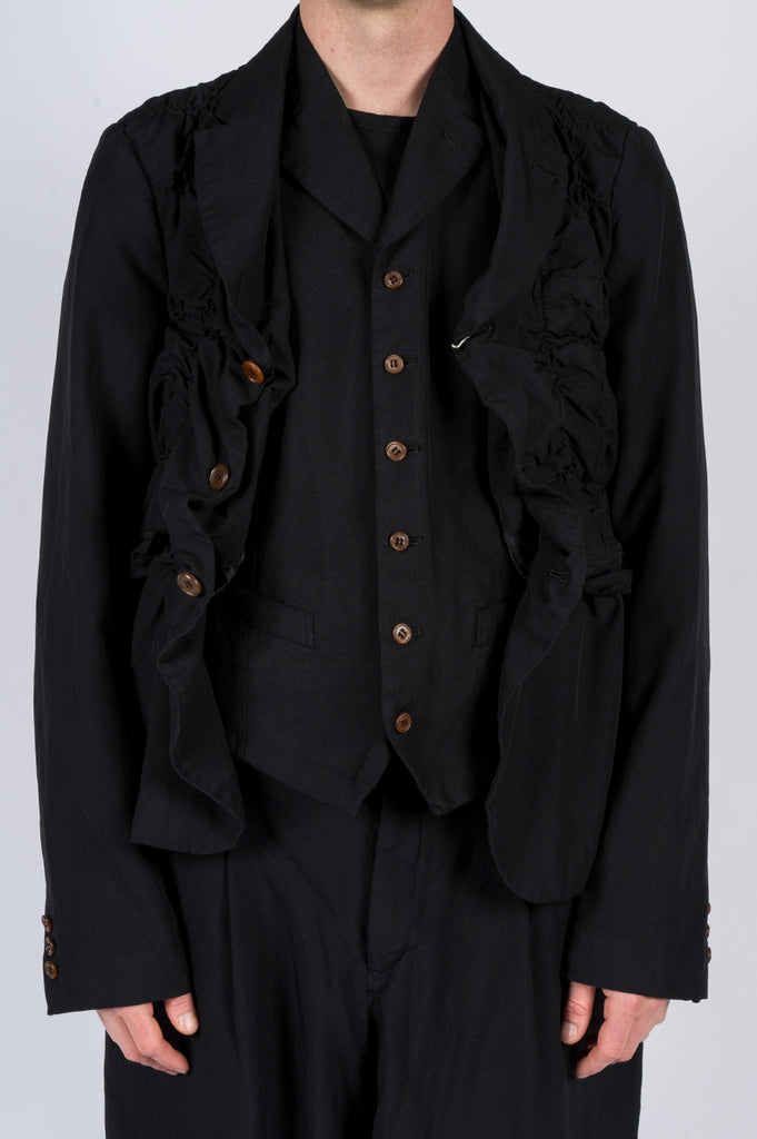 COMME DES GARCONS HOMME PLUS RUCHED POLYESTER BLAZER - BLENDS