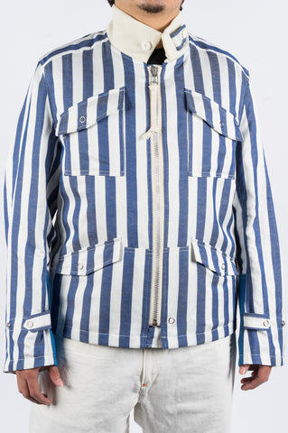 JUNYA WATANABE STRIPED ZIP JACKET BLUE WHITE - BLENDS