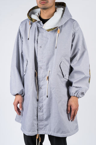 JUNYA WATANABE GINGHAM M65 COAT GREY WHITE - BLENDS
