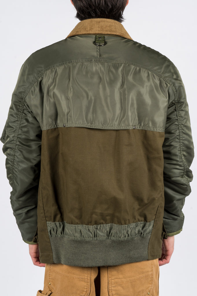 JUNYA WATANABE MAN HYBRID BOMBER JACKET GREEN - BLENDS