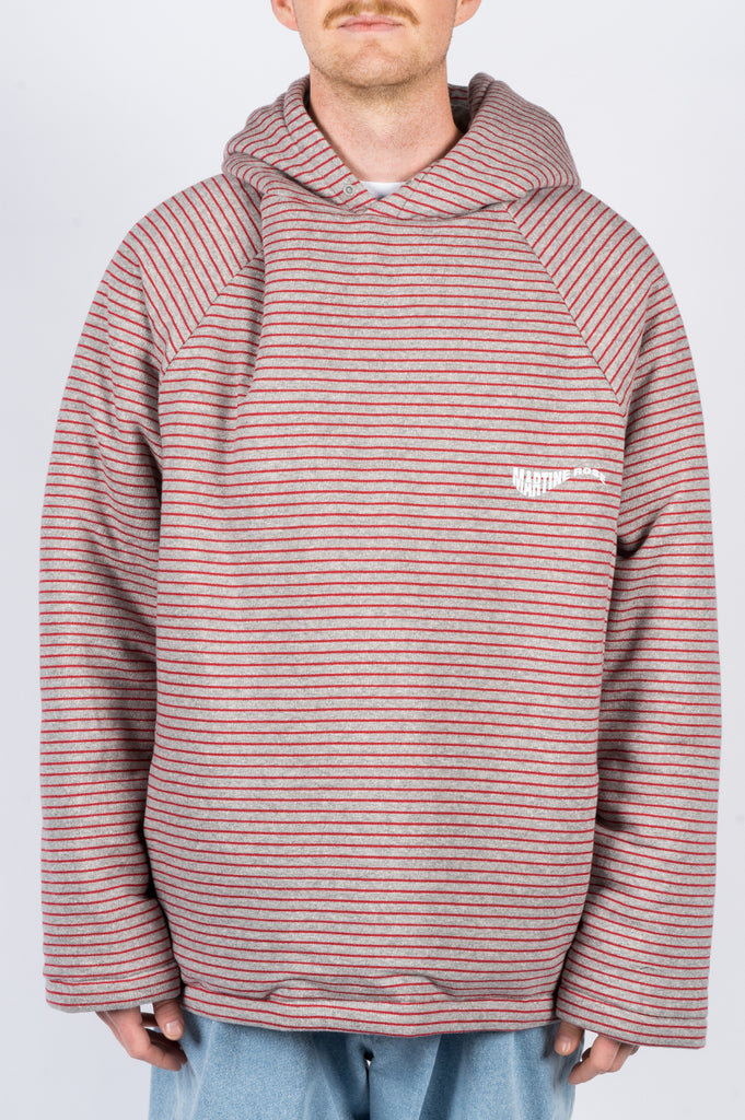 MARTINE ROSE WADDED HOODIE GREY RED STRIPE