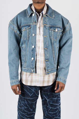 MARTINE ROSE DENIM JACKET W WIDE SHOULDERS LIGHT BLUE - BLENDS
