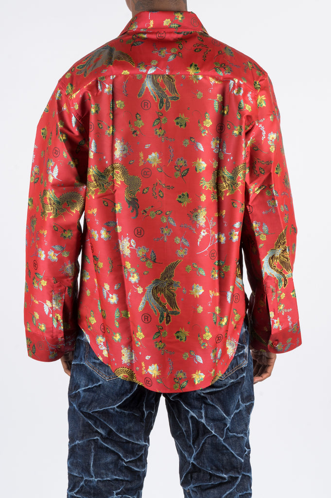 MARTINE ROSE CLASSIC SHIRT W LANTERN SLEEVE RED - BLENDS
