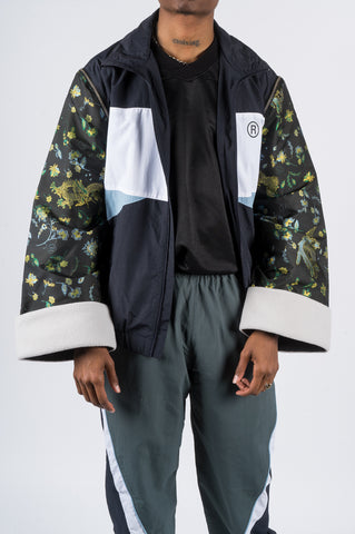 MARTINE ROSE ICHO TRACK JACKET JACQUARD SLEEVES NAVY - BLENDS