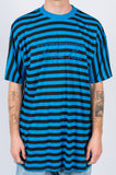 MARTINE ROSE OVERSIZED STRIPE TEE BLACK BLUE - BLENDS