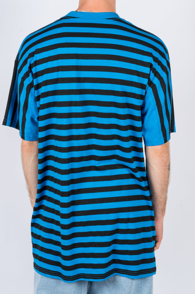 MARTINE ROSE OVERSIZED STRIPE TEE BLACK BLUE