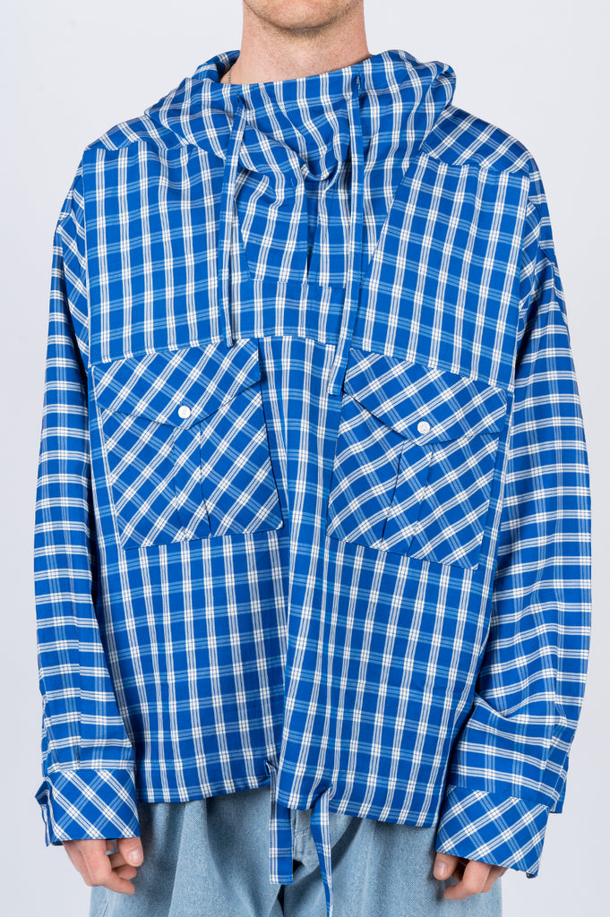 MARTINE ROSE BRIGHT CHECK HOODED SHIRT BLUE
