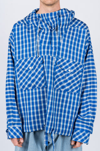 MARTINE ROSE BRIGHT CHECK HOODED SHIRT BLUE - BLENDS