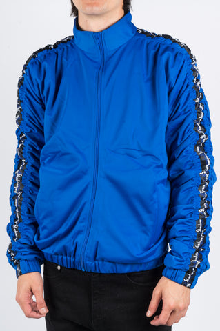 MARTINE ROSE STRIPE RUCHED TRACK JACKET BRIGHT BLUE
