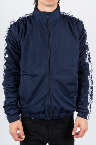 MARTINE ROSE STRIPE RUCHED TRACK JACKET NAVY