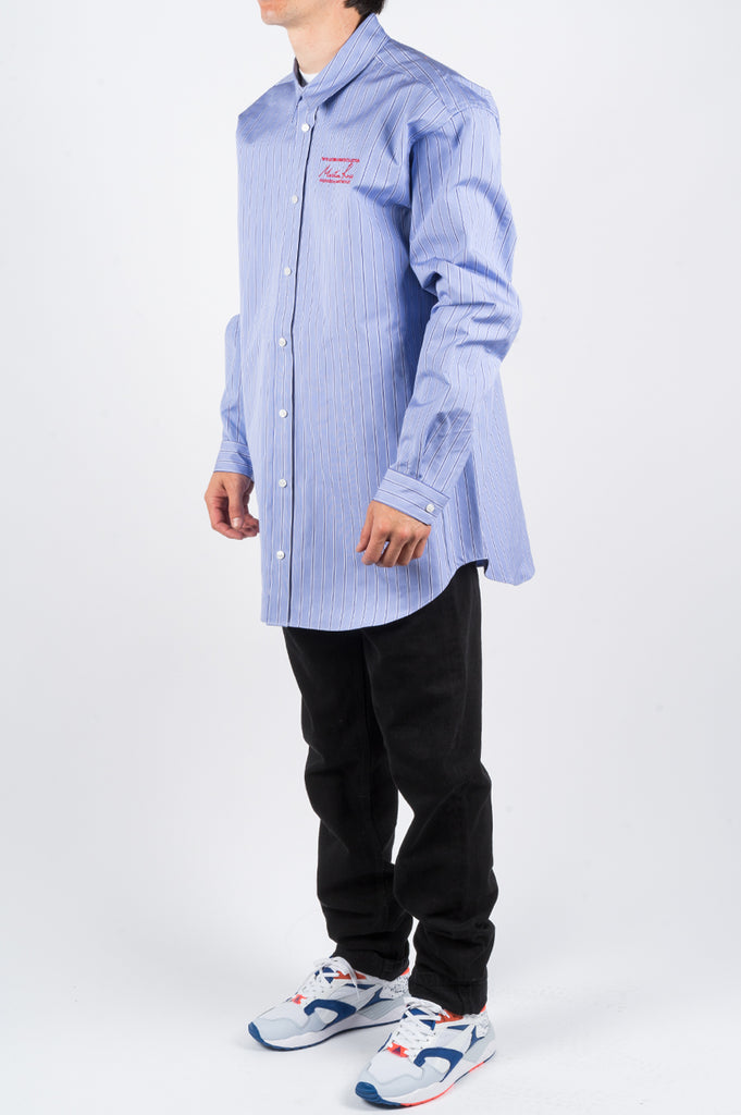 MARTINE ROSE OVERSIZED BONDED SHIRT BLUE STRIPE - BLENDS