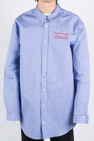 MARTINE ROSE OVERSIZED BONDED SHIRT BLUE STRIPE