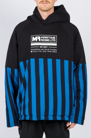 MARTINE ROSE SPLIT WADDED HOODY BLACK BLUE STRIPES