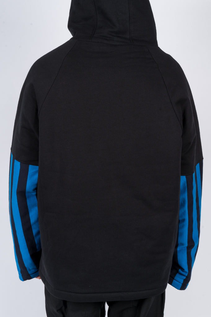 MARTINE ROSE SPLIT WADDED HOODY BLACK BLUE STRIPES - BLENDS