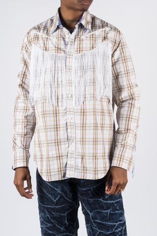 MARTINE ROSE REVERSIBLE ALBOROSIE SHIRT BROWN - BLENDS
