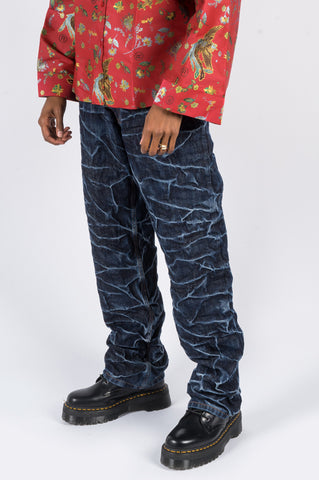 MARTINE ROSE CRINKLE RONNIE JEANS INDIGO - BLENDS