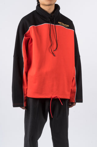 MARTINE ROSE BATWING JERSEY SWEATSHIRT RED BLACK - BLENDS