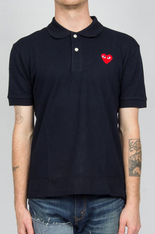 COMME DES GARCONS PLAY POLO TSHIRT NAVY RED HEART - BLENDS