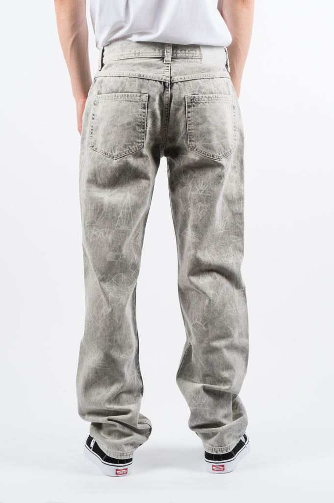 RASSVET PRINTED JEANS LIGHT GREY - BLENDS