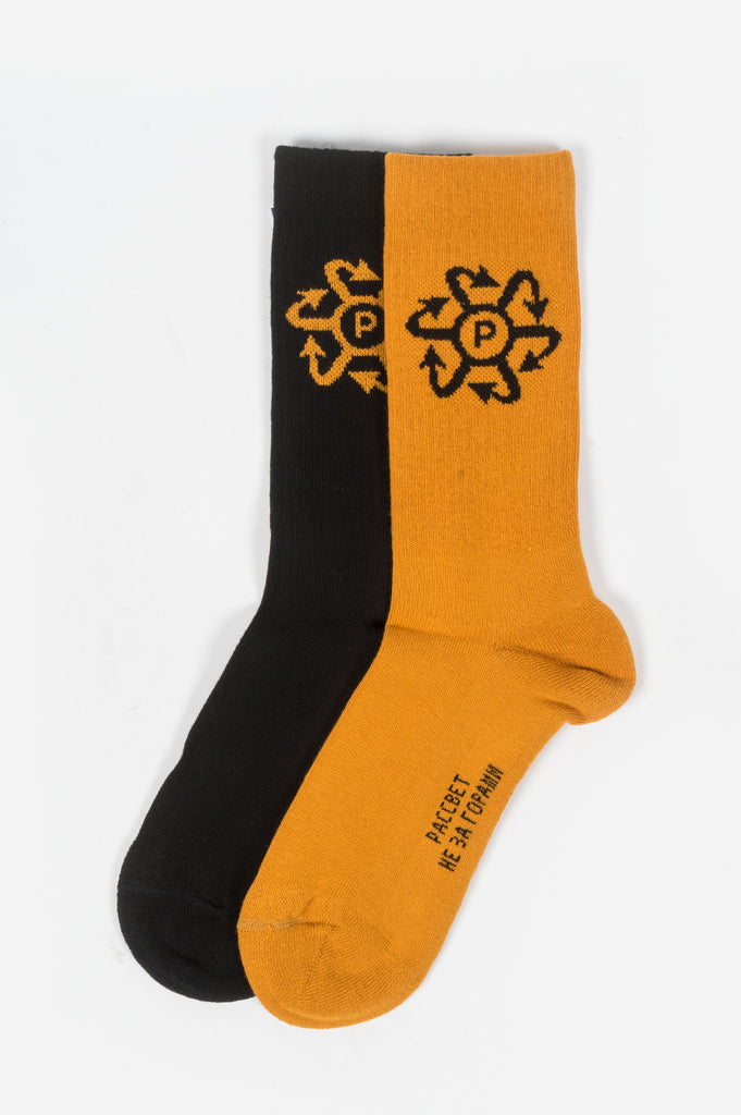 RASSVET TWO TONE JAQUARD SOCKS BLACK ORANGE