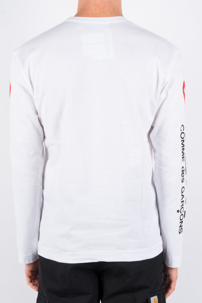 COMME DES GARCONS PLAY LS ALTERNATING HEARTS PRINTED SLEEVE WHITE - BLENDS