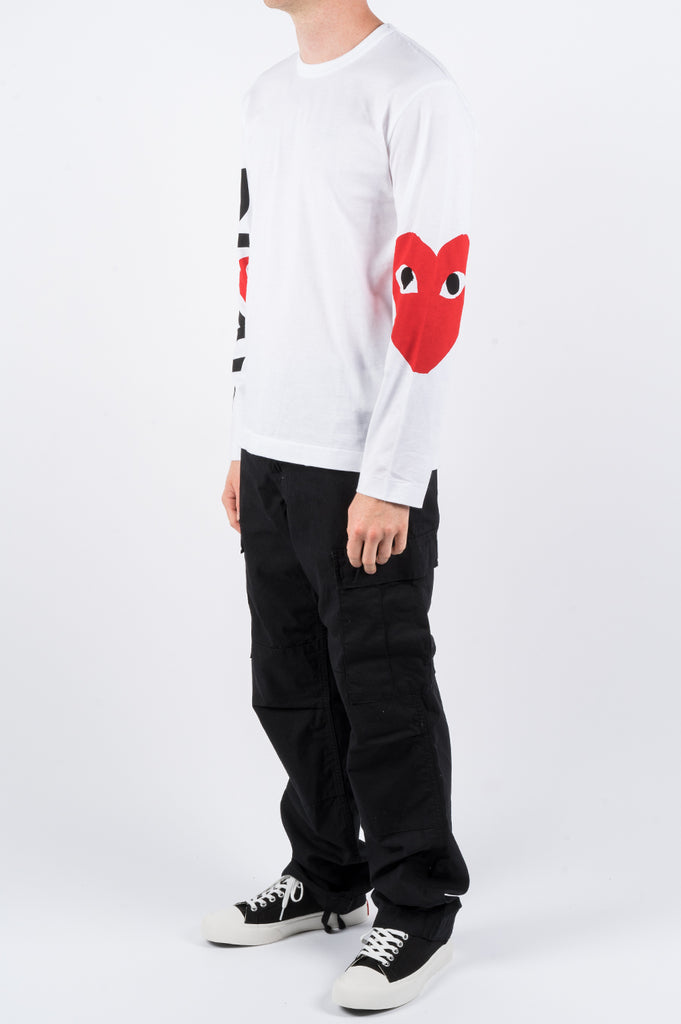 COMME DES GARCONS PLAY LS OVERSIZED HEART PRINTED SLEEVE WHITE - BLENDS