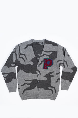 PARRA JUMPING FOXES KNITTED CARDIGAN GREY