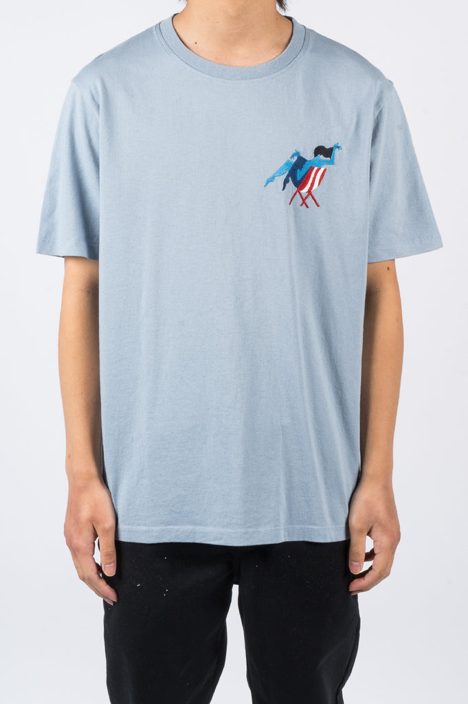 PARRA MADAME BEACH T-SHIRT DUSTY BLUE - BLENDS