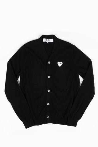 COMME DES GARCONS PLAY CARDIGAN BLACK WHITE HEART