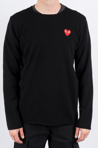COMME DES GARCONS PLAY BOUNDLESS CREWNECK SWEATER BLACK - BLENDS