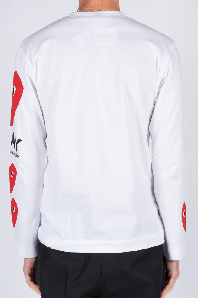 COMME DES GARCONS PLAY LS PRINTED SLEEVED WHITE - BLENDS