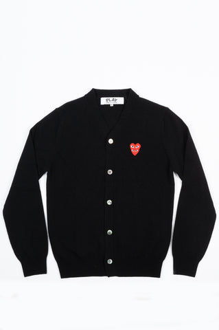 COMME DES GARCONS PLAY DOUBLE HEART CARDIGAN