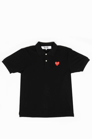 COMME DES GARCONS PLAY POLO TSHIRT BLACK RED HEART
