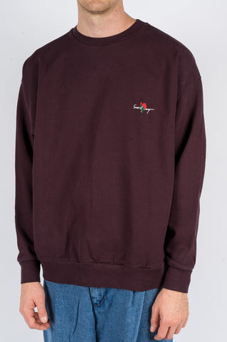 SECOND LAYER ESSENTIAL ROSE PULLOVER CREW BORDEAUX