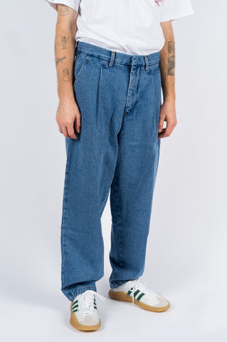 SECOND LAYER SINGLE PLEAT DENIM PANT STONE WASH INDIGO - BLENDS